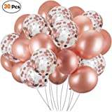 30 Pcs Rose Gold Confetti Balloons,Latex Balloons Set Ideal for Weddings Birthday Party Decoration, Bachelorette Bridal…