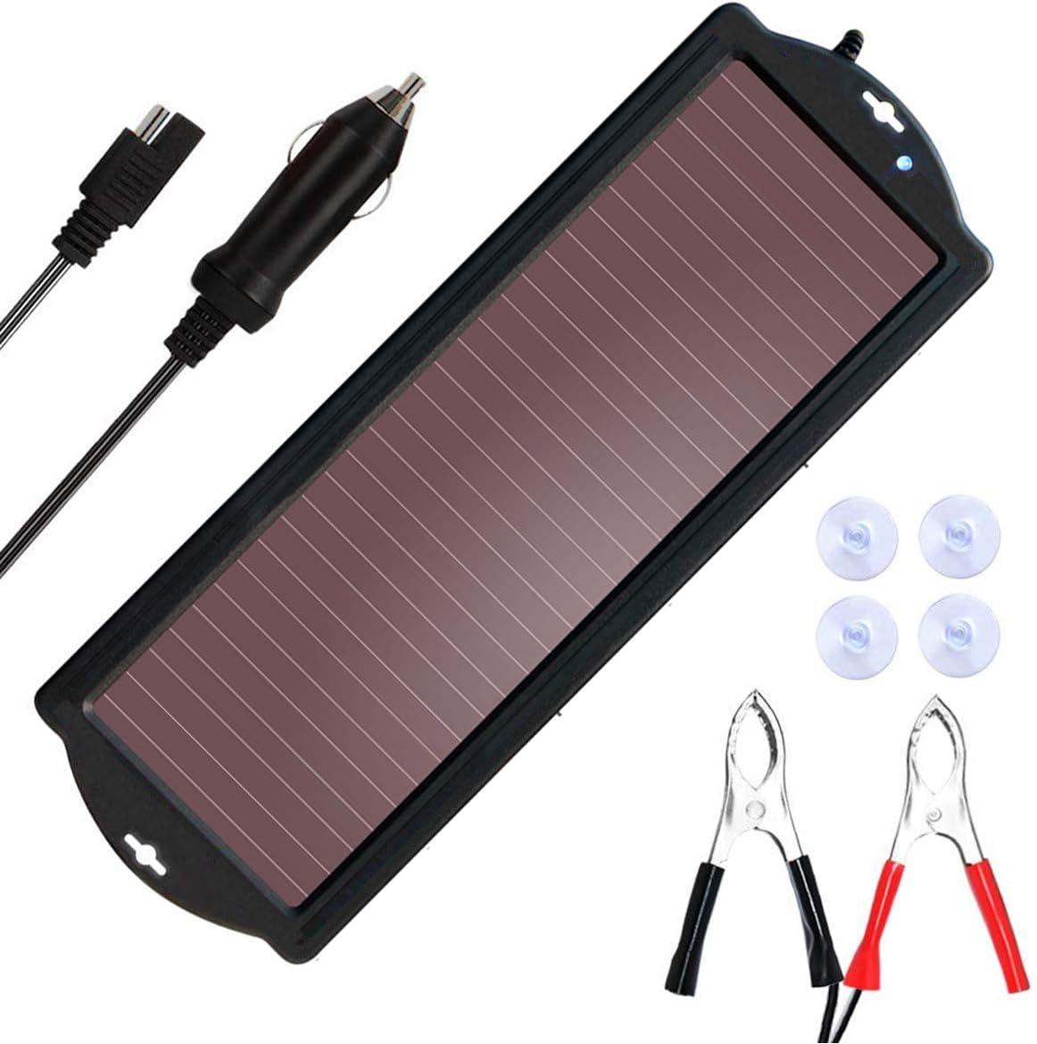 SARONIC - Cargador de batería solar para coche con enchufe para encendedor de cigarrillos y línea de clip de carga de batería, apto para coches, caravanas y barcos (1,5 vatios)