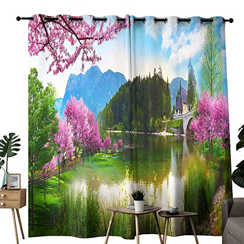 duommhome Kids Room Curtains 3D Brick and Wallpaper Picture Privacy Protection W84 x L108