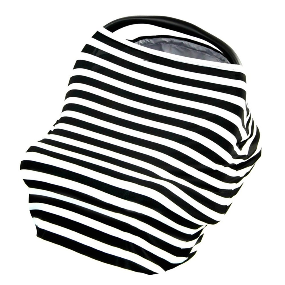 Baby Car Seat Canopy Covers Breastfeeding Nursing Cover Multi-Use Nursing Privacy Cover Shopping Cart and Stroller Carseat Covers (Black-white) Fanatical Purchase