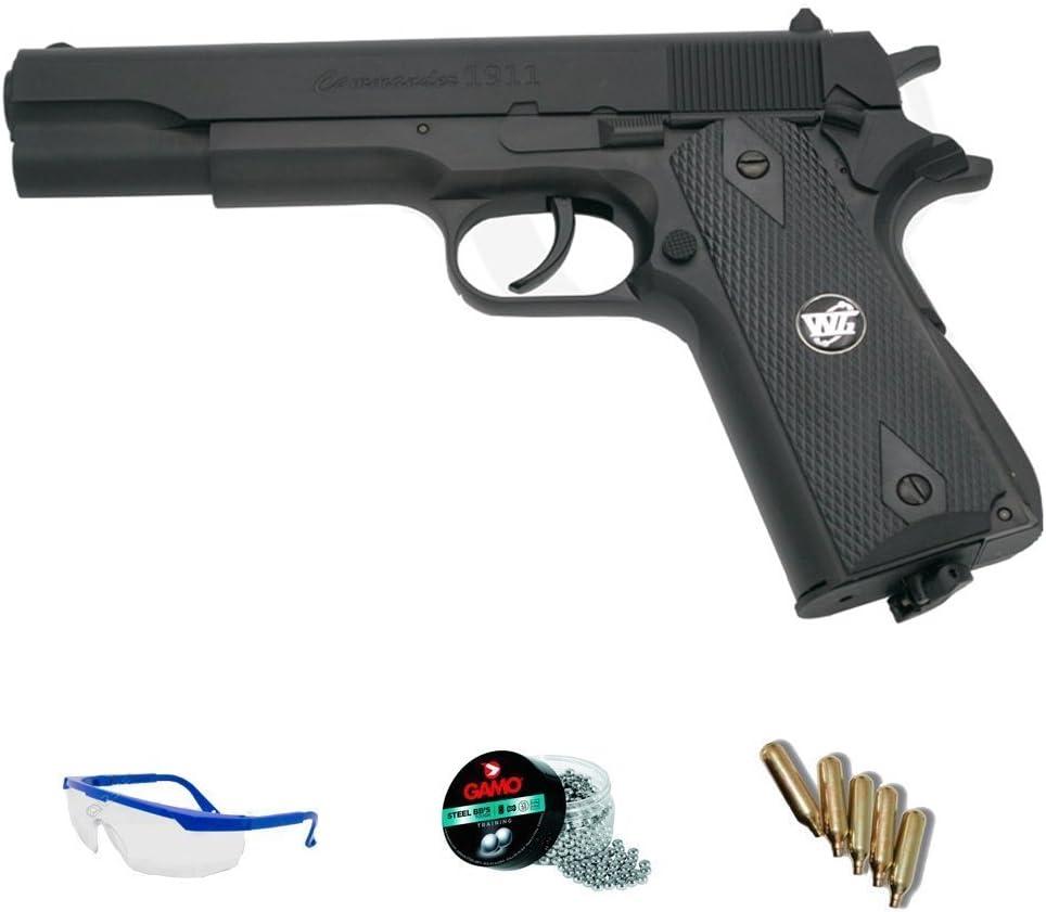 PACK WG Commander 1911 - Pistola de aire comprimido (CO2) y balines de acero (perdigones BBS) calibre 4.5mm. Réplica + accesorios <3,5J