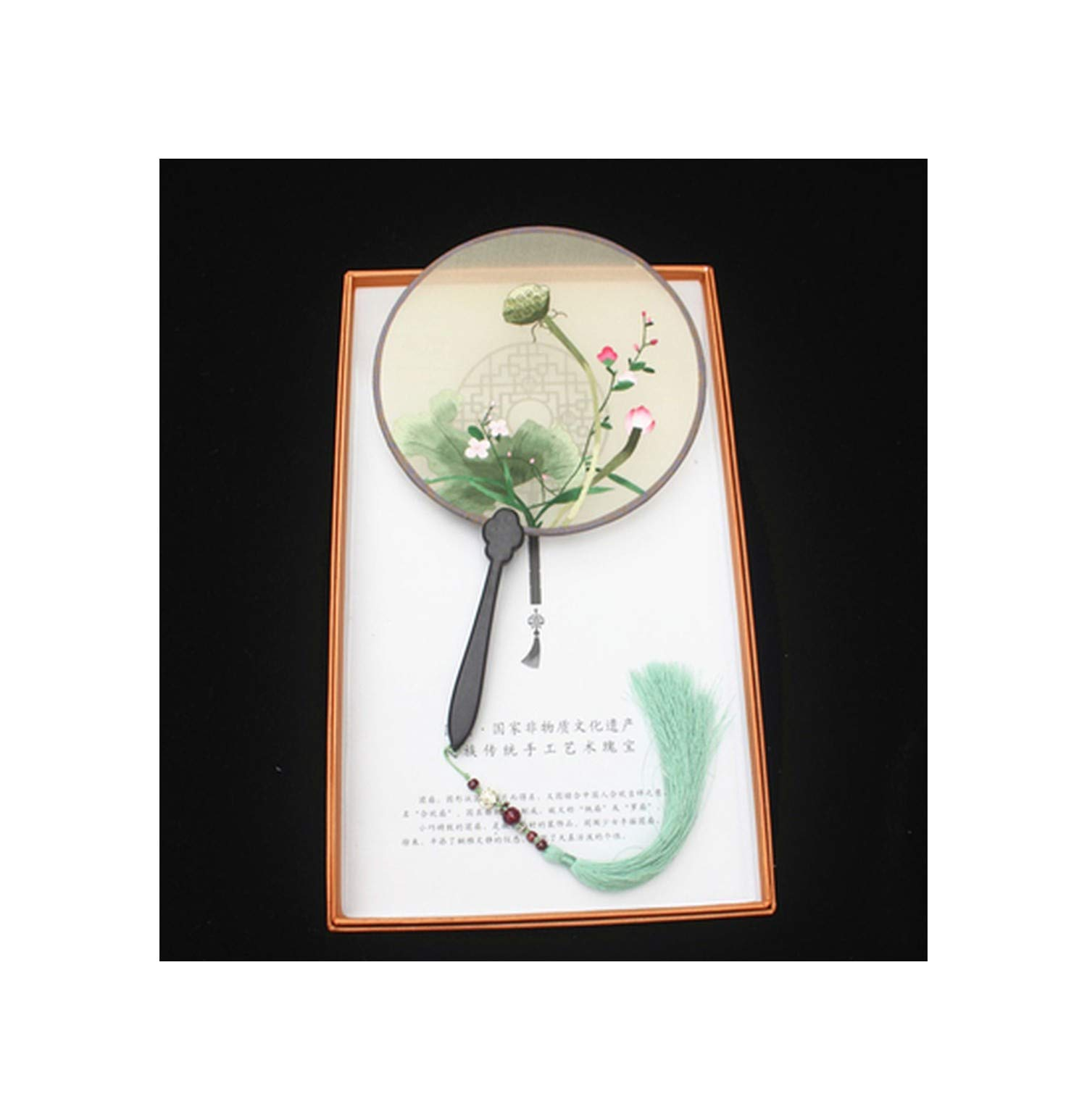 Candye Su Embroidery Finished Hand-Embroidered Fan Suzhou Embroidery Boutique Silk Hand Holding Fan,Number 41 by Candye