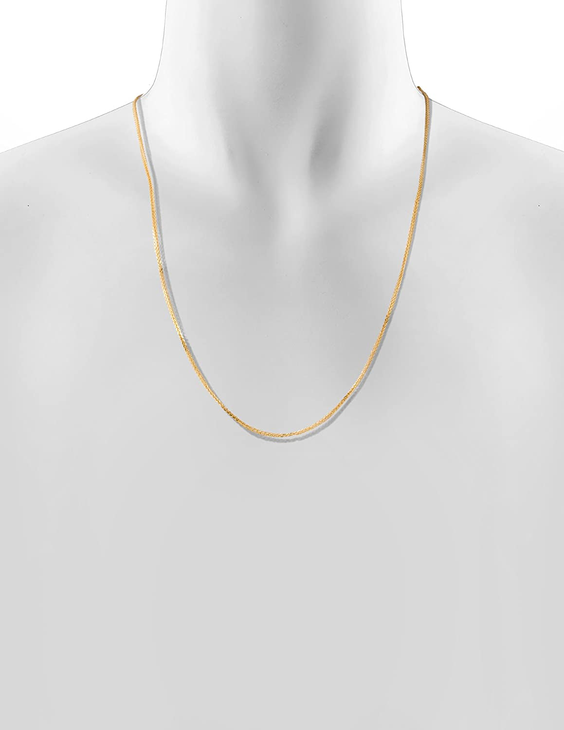 Solid Gold 14K Square Wheat Espiga Hollow Link Chain Necklace 1.8mm Wide Lengths 16 to 24