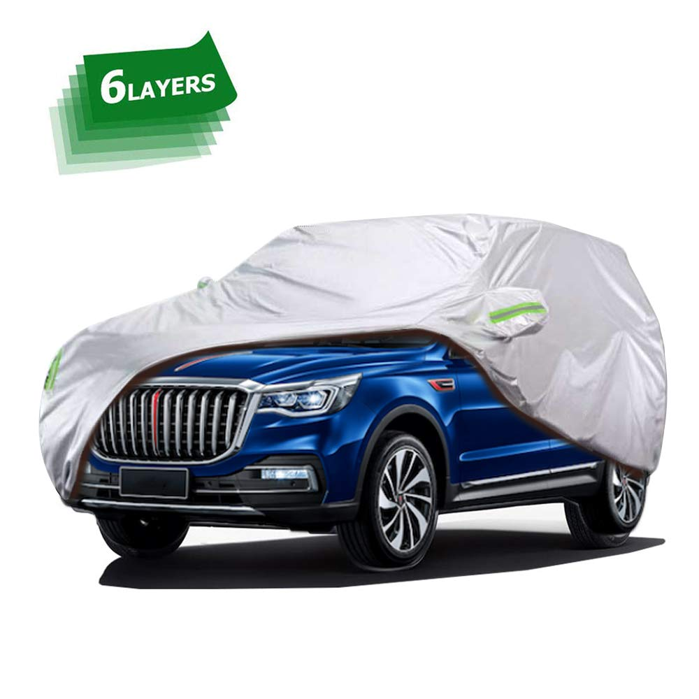 Fits SUV 178 to 187 Car Covers Waterproof,SUV Car Covers for 6 Layers All Weather Outdoor Snow UV Protection with Zipper A8-YM+