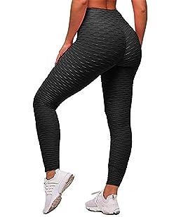ED express Women's Honeycomb Ruched Butt Lifting High Waist Yoga Pants Chic Sports Stretchy Leggings (Black, L)