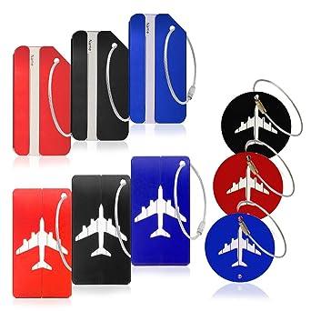 Paquete de 9 etiquetas de equipaje de metal, etiquetas de identificación de viaje de aluminio