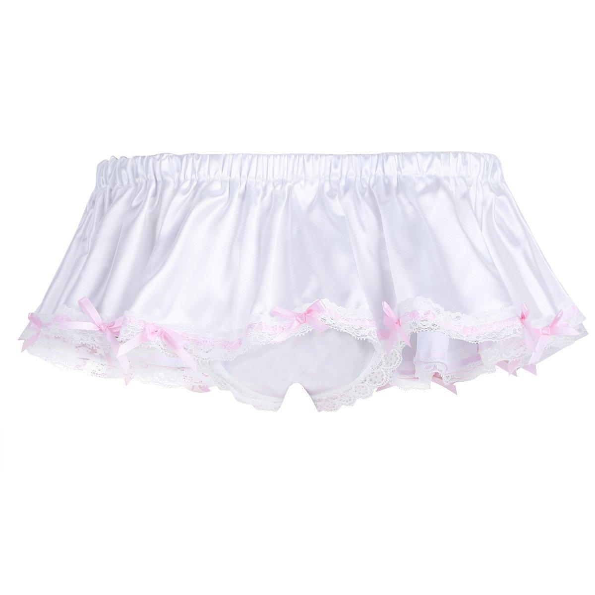 MSemis Men's Sissy Skirted Panties Satin Frilly Lace Briefs Thongs Underwear Crossdress