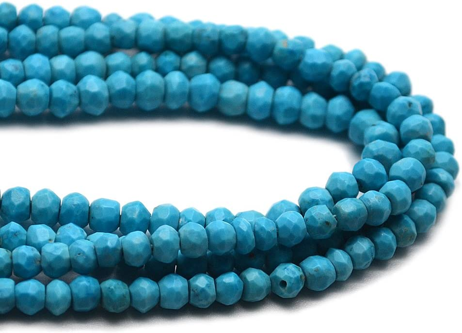 110 pcs 3x2mm Transparent Turquoise Blue Topaz Faceted Rondelle Glass Beads T