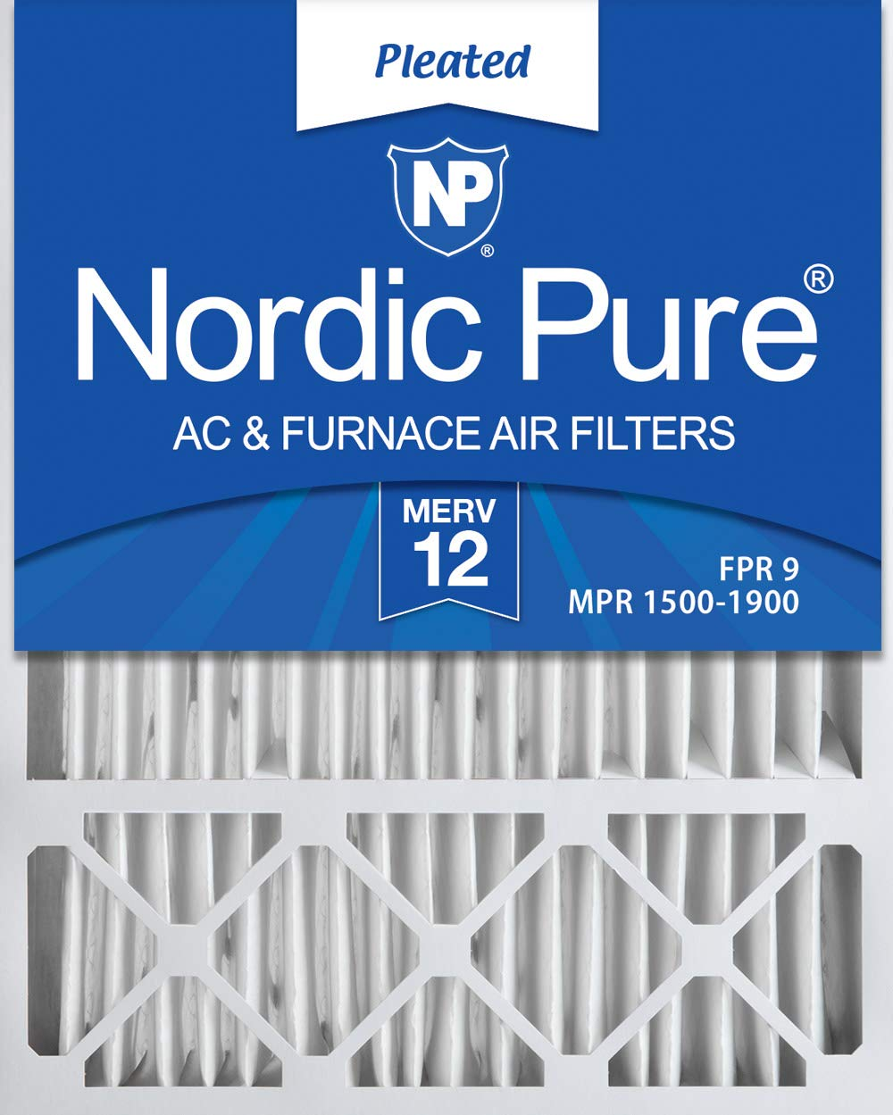 Nordic Pure 20x25x4/20x25x5 (19 7/8 x 24 7/8 x 4 3/8) Honeywell FC100A1037 Replacement Pleated AC Furnace Air Filters MERV 12, Box of 2 by Nordic Pure