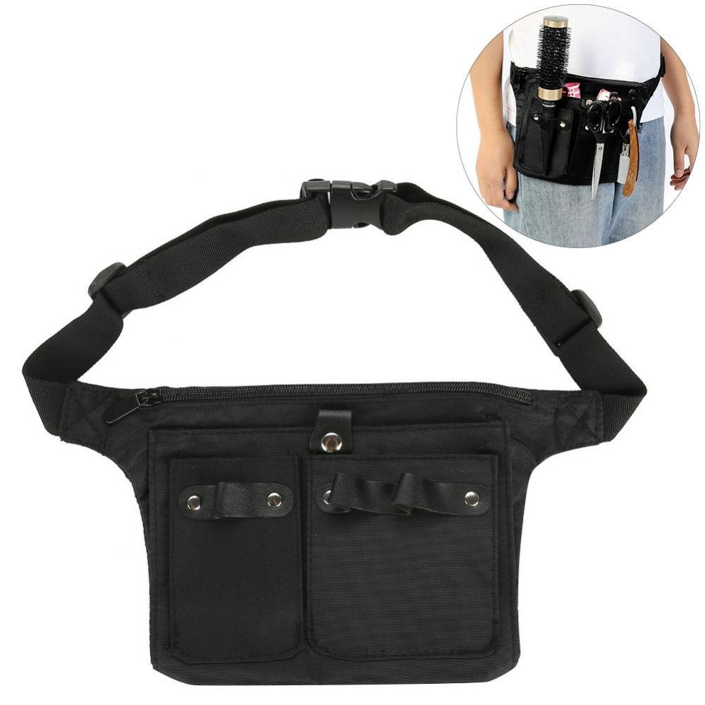 Hair Styling Tools Storage, Multiple Pocket Hair Salon Tools Cosmetic Organizer Professional Hairdressing Tool Pouch Bag Hair Scissor Comb Container Waist Belt Semme