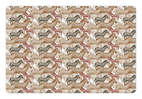 (Ambesonne Zebra Pet Mat for Food and Water, Hand Drawn African Savannah Animals Abstract Pattern Camouflage, Rectangle Non-Slip Rubber Mat for Dogs and Cats, Pale Caramel Green Brown Ruby)