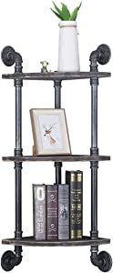 (3 Tier) Industrial Retro Wall Mounted Corner Pipe Shelf, Pipe Wooden Bookshelf and Bookcases Furniture
