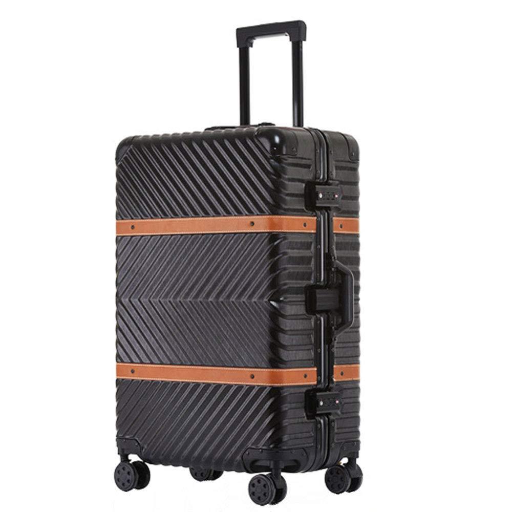 ブレーキスーツケースが付いている普遍的な車輪に乗るトロリー箱のアルミニウムフレーム20/24/26/29インチ (Color : ブラック, Size : 29 inch)   B07QXMRLKF