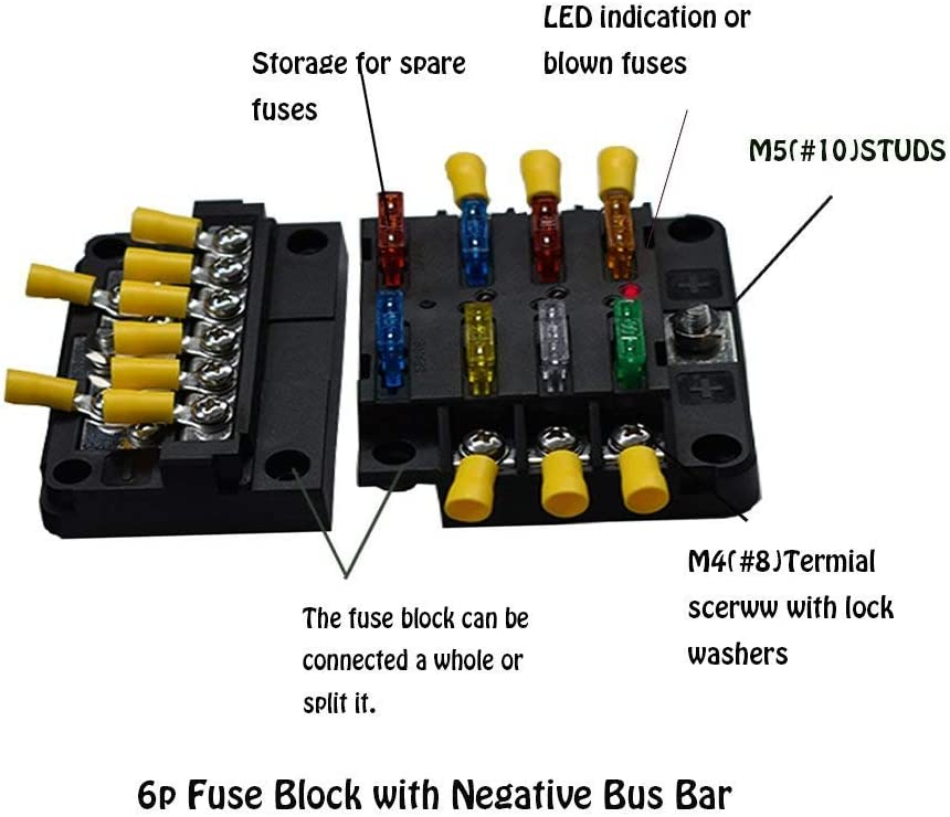 [DIAGRAM_4FR]  Amazon.com: Xislet UTV Fuse Block with 12P Negative Bus Bar Compatible with  RZR Ranger Maverick X3 Offroad ATV Side by Side Marine Fuse Box 6-Circ  Waterproof ST Blade: Automotive | 6p Atv Fuse Box |  | Amazon.com