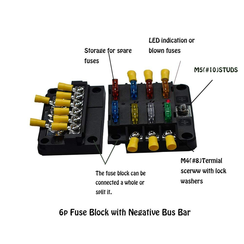 Amazon.com: Xislet 6 Circuits ATP Fuse Block 12V with 12P Negative Bus Bar  for Polaris RS1 RZR Ranger General Can Am X3 Maverick with Cover (Screw ...