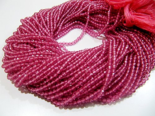 Best Quality Natural Pink Topaz Beads/Rondelle Faceted 3 mm Size Beads/Sold Per Strand of 13 inch Long/Genuine Pink Topaz Gemstone