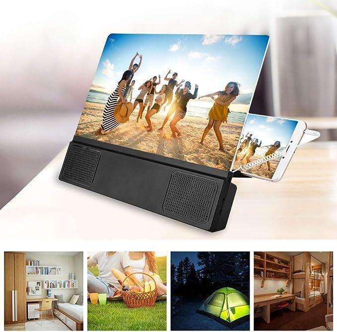 Pomya Ampliador de Pantalla, Amplificador portátil de Video de 12 Pulgadas con Amplificador de Pantalla HD para teléfono móvil con Altavoz para Ver películas móviles en 3D: Amazon.es: Electrónica