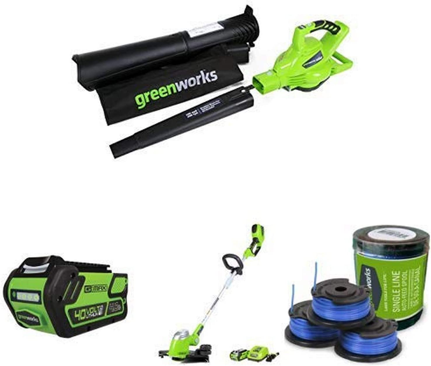 Greenworks 40V Variable Speed Cordless Blower Vacuum, Battery Not Included with Lithium Ion Battery, Cordless String Trimmer, Battery Included and Single Line String Trimmer Replacement Spool 3-Pack