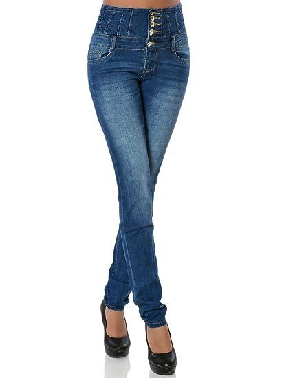 79db1e2fc1fe Damen Skinny Jeans mit Hohem Bund Stretch DA 15839
