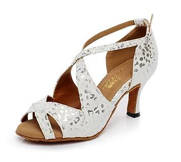 JSHOE Frauen PU Latin Salsa Tanzschuhe Salsa/Tango/Tee/Samba/Modern/Jazz Schuhe Sandalen High Heels,Red-heeled7.5cm-UK3/EU33/Our34
