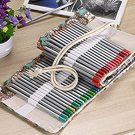 Gracelife NA Bohemian 72 Slots Canvas Pencil Wrap Colored Pencils Roll up Case Pure Handmade Pencil Pouch Travel Drawing Coloring Pencil Roll Holder Organizer