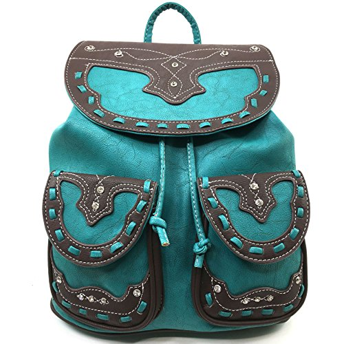 Leather Handle Backpack Conceal Rhinestone Purse Turquoise Top Justin West Western Trendy Carry zqXI4p