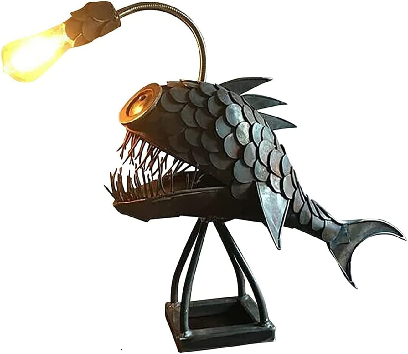 Metal Angler Fish, Creative Table Lamp with USB Port, Metal Shark Table Lamp, Flexible Lamp Head for Adjustments, for Bedroom, Living Room, Home Decor (12in)