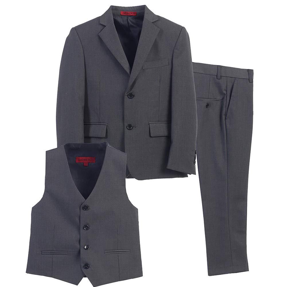 Little Boys Charcoal Vest Pants Jacket Special Occasion 3 Pcs Suit 3T by Bone (Image #1)
