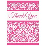 Pink Damask Thank You Note Cards, 8ct