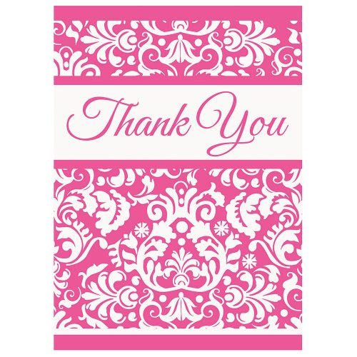 (Pink Damask Thank You Note Cards, 8ct)