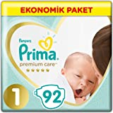 Prima Bebek Bezi Premium Care 1 Beden Yenidoğan Jumbo Paket 92 Adet