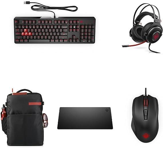 HP Omen - Pack Gaming (Teclado mecánico Omen 1100 + Auriculares Omen 800 + Ratón Omen 600 + Alfombrilla Omen 300 + Mochila Omen): Amazon.es: Informática
