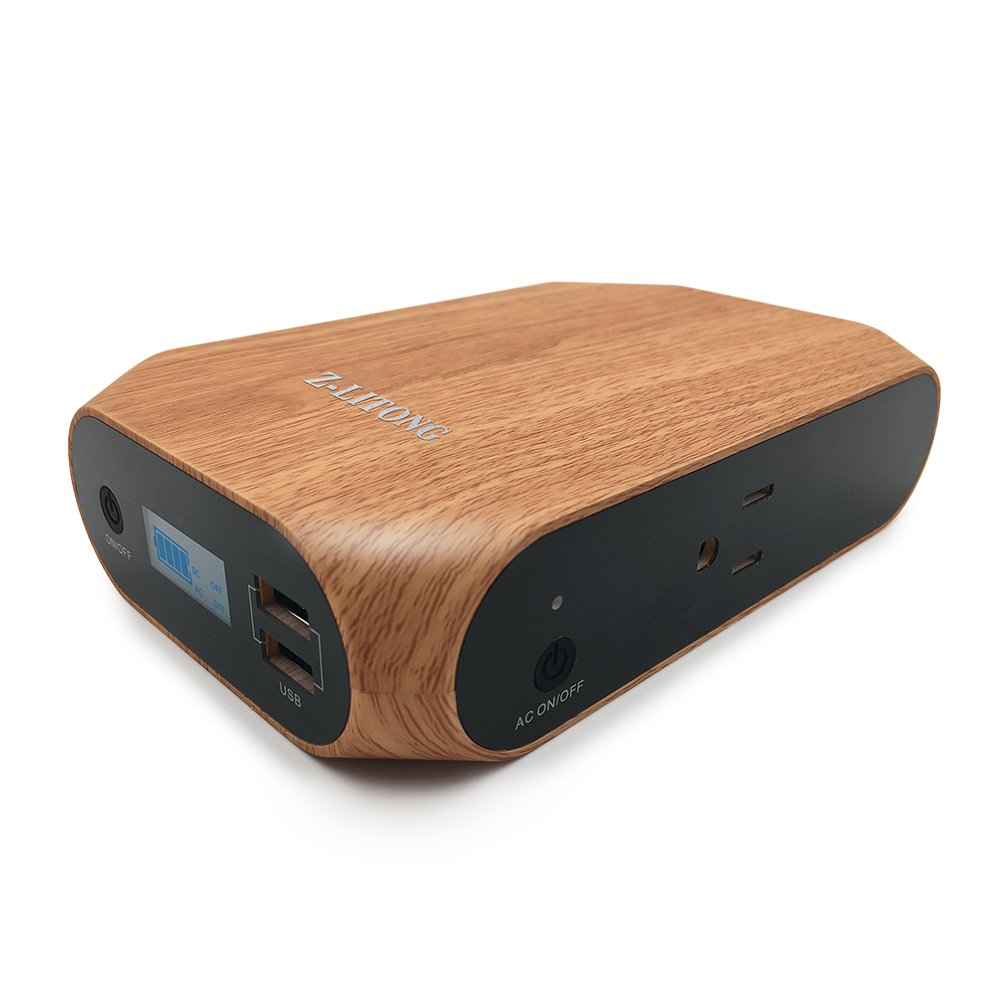 Z-LITONG 18000mAh Laptop Power Bank High Capacity Portable Power Bank with AC Outlet Charger 2USB Ports and Type-C Port Quick Charging for Laptops,Smartphones, Tablets, Notebooks and More (wood grain)