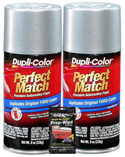 (Dupli-Color Silver Charcoal Metallic Exact-Match Automotive Paint for Ford Vehicles - 8 oz, Bundles with Prep Wipe (3 Items))