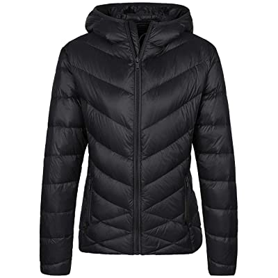 Wantdo Women's Packable Puffer Down Jacket Winter Hooded Lightweight Coat: Clothing
