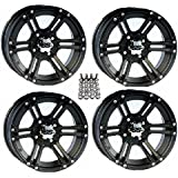 "ITP SS212 ATV Wheels/Rims Black 12"" Honda Foreman Rancher SRA Solid Axle (4)"