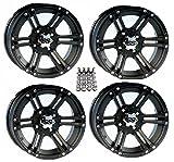 ITP SS212 ATV Wheels/Rims Black 12'' Honda Foreman Rancher SRA Solid Axle (4)