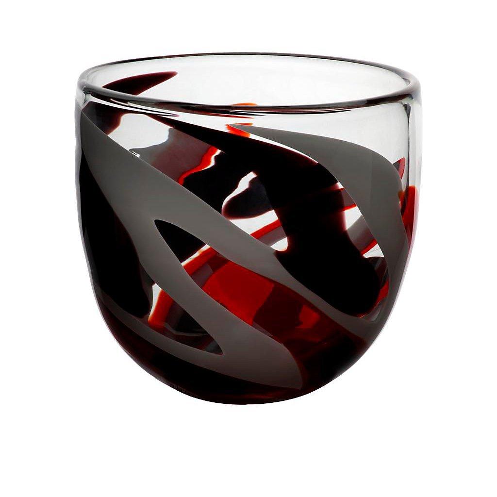 Vaso, vaso in vetro, vaso esclusivo, collezione FLAME,rosso/grigio/nero, 20 cm, lavorato a mano (AMARA DESIGN powered by CRISTALICA) collezione FLAME AM00023