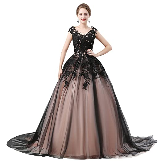 Zechun Womens Gothic Wedding Dress Black Lace Long Tulle Prom Ball
