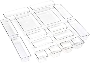 BYCY 16 Pcs Clear Plastic Desk Drawer Organizer trays for Makeup and Office suppliers, Drawer Organizer Container Bins