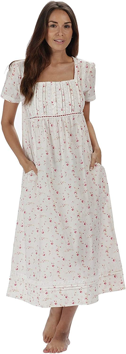 Cottagecore Dresses Aesthetic, Granny, Vintage The 1 for U 100% Cotton Short Sleeve Nightgown with Pockets - Lara $39.99 AT vintagedancer.com