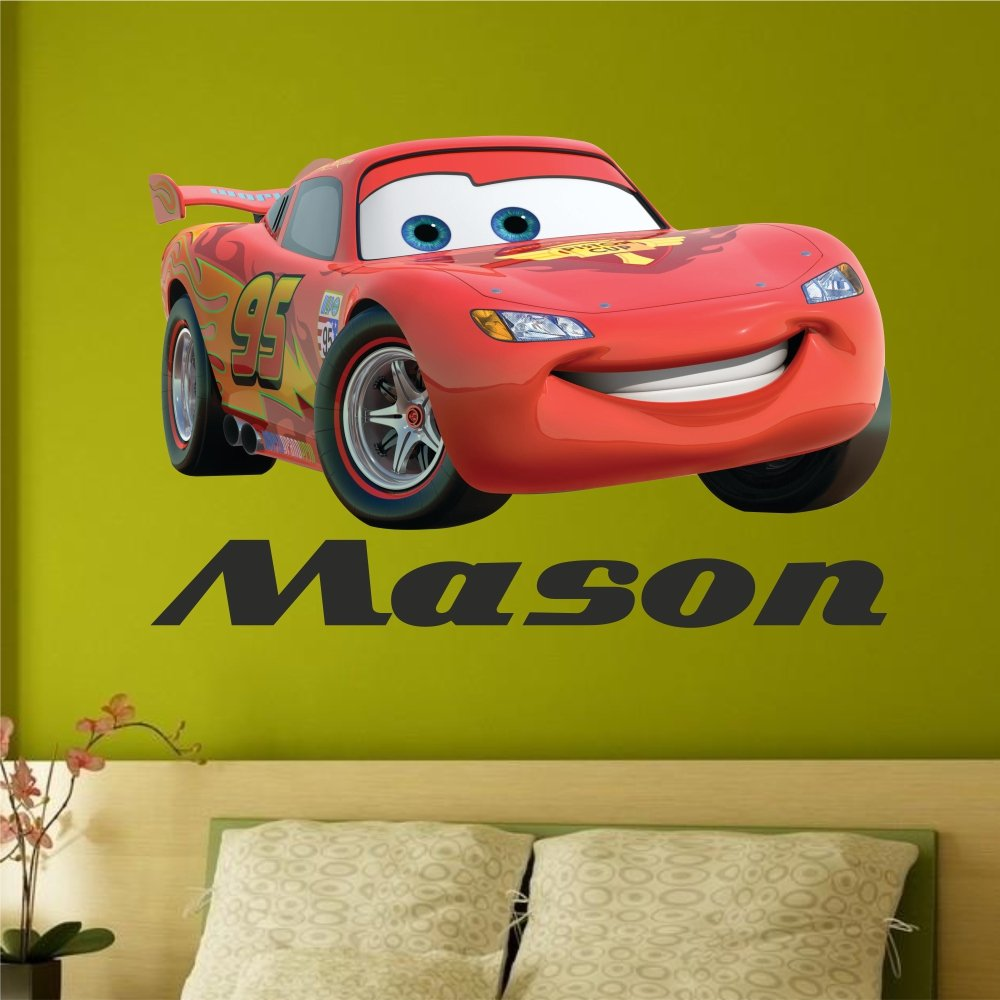 Personalised Cars Lightening McQueen Wall Sticker Name (750mm x ...