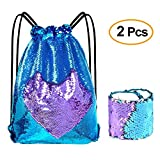 KUUQA Sequin Mermaid Drawstring Backpack Bag with Wristband Bracelet,Magic Reversible Sequin Glitter Gym Shoulder Bag for Women Kids Girls Boys Birthday Party Favors Gifts (Blue Purple)