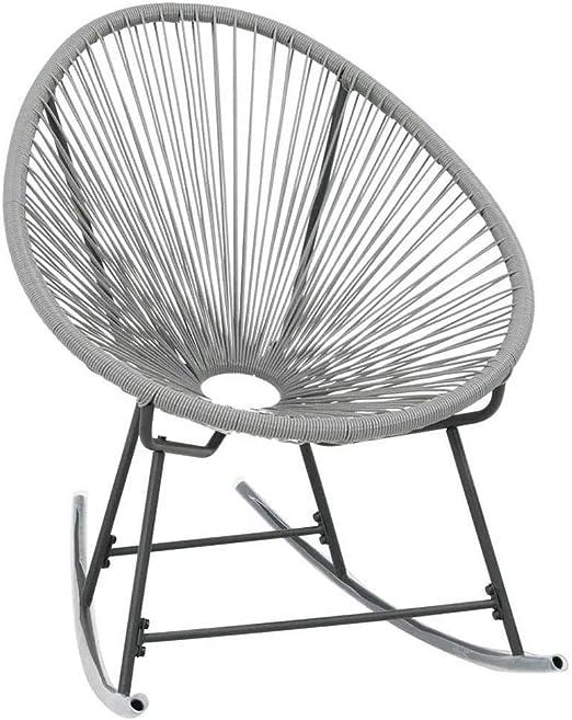 Wakects - Silla mecedora de jardín de polirratán gris de jardín, mecedora de jardín exterior, mecedora Acapulco de niño, 72,5 x 77 x 90 cm: Amazon.es: Hogar