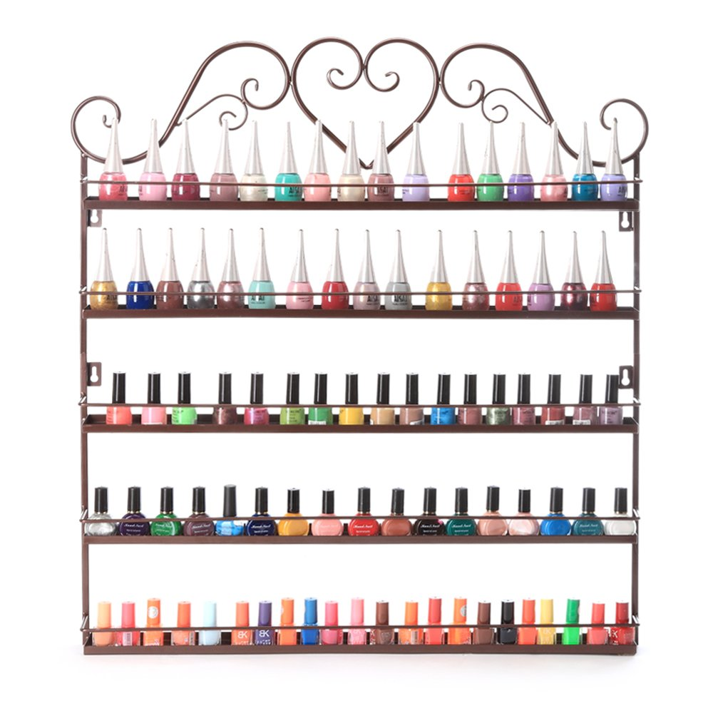Dazone DIY Mounted 5 Shelf Nail Polish Wall Rack Organizer Holds 100 Bottles Nail Polish or Essential Oils (Bronze)