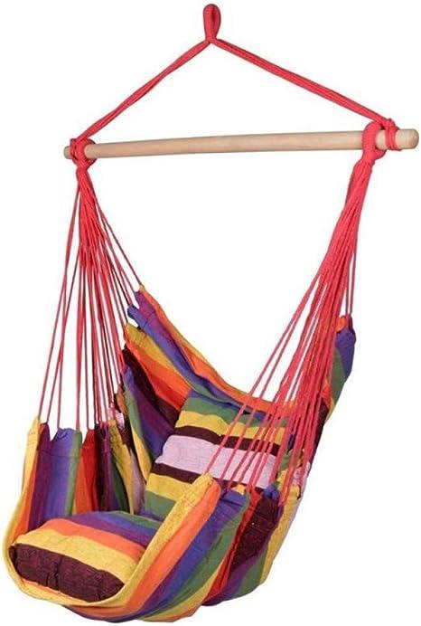 DCKJL Hamaca Silla de Cuerda Colgante de Hamaca Colgante de jardín al Aire Libre en el Interior Asiento con 2 Almohadas Cama Colgante de Hamaca de Viaje Que acampa: Amazon.es: Deportes y