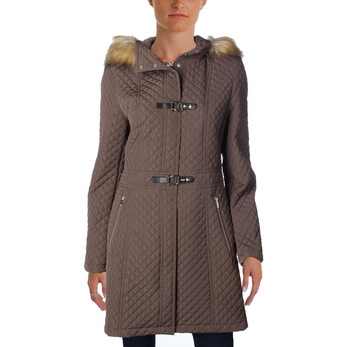 Ivanka Trump Womens Quilted Faux Fur Coat Brown M