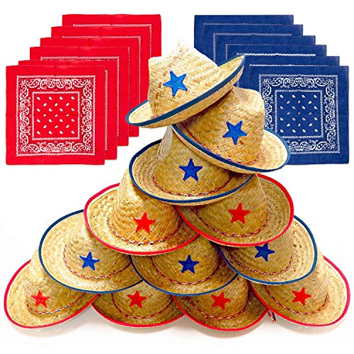 Dozen Straw Cowboy Hats with Cowboy Bandanas (6 Red & 6 Blue) for Kids - Makes Great Birthday Party Hats for Boys and Girls -
