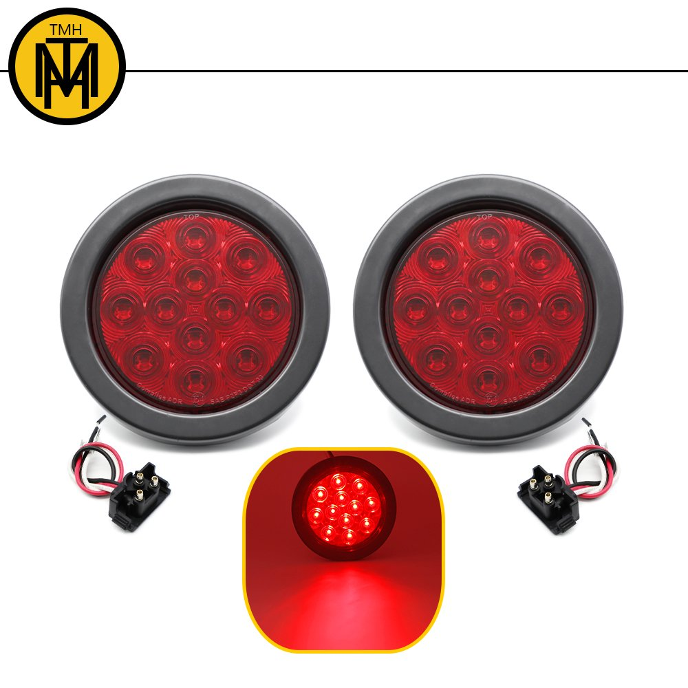 TMH 2pcs 4' 12 Super Bright LED Stop Tail Turn Brake Light Smoked Lens Red Assembly Rubber Mount Grommet for Trucks Trailers 2-GA-BKR