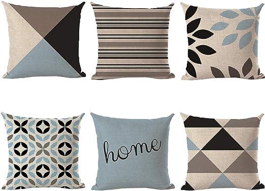 VLUNT 6 Pack Fundas de Cojines para Sofa, Estampados de Geometría ...